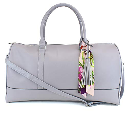 Women's Large PU Leather Weekender Duffel Bag with Satin Interior - Big 22