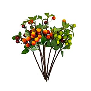 What's Fun 8 Piece Artificial Flowering Crab Apple-Small Apple Stems Christmas Tree Decorations for Holiday Home décor 116