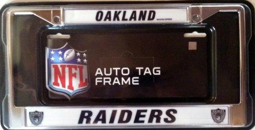 - Oakland Raiders RETRO Metal Chrome License Plate Frame Cover Football