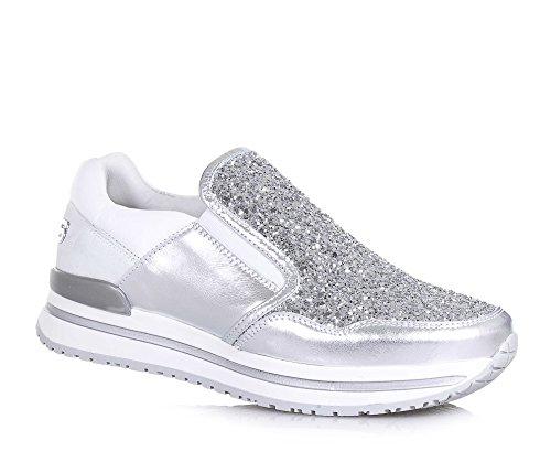 4US CESARE PACIOTTI - Chaussure argent et blanche, en cuir et glitter, pièces élastiques latérales, logo appliqué, fille, filles, femme, femmes