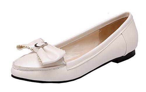 Allhqfashion Womens Pu Pull-on Tacco A Spillo Tacco Basso Pompe-scarpe Beige