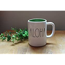 Rae Dunn by Magenta ALOHA Mug Big Letters (green interior)