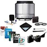 Sigma 60mm f/2.8 DN ART Lens for Sony E-mount Nex Series Cameras, Silver - Bundle with 46mm Filter Kit (UV/CPL/ND2), Flex Lens Shade, Lens Cap Leash, Cleaning Kit, Lens Wrap, Pro Software Package