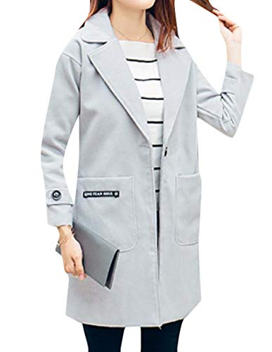 Long Grey One Slim MogogoWomen Mid Turn Down Trench Coat Thick Collar Button A4PaUw