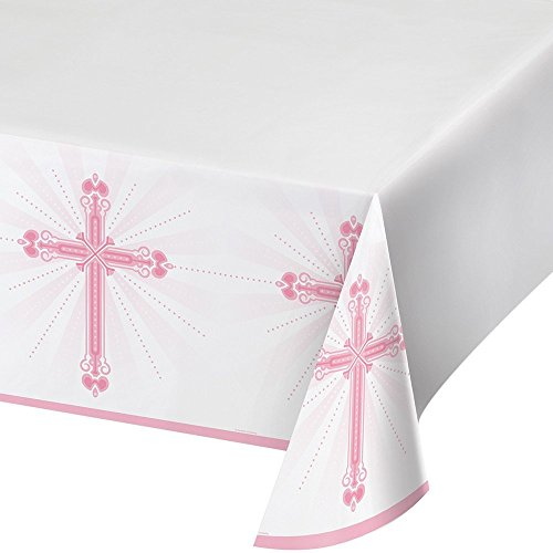Creative Converting 722218 Border Print Plastic Tablecover, 54 x 102, Blessings Pink (2 pack), Multicolored]()