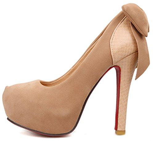 IDIFU Womens Bow Stiletto High Heels Slip On Pumps Closed Round Toe Platform Shoes Brown yVJQbjHsb
