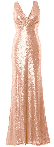 MACloth Women V Neck Sequin Long Bridesmaid Dress 2017 Wedding Party Formal Gown Rose Gold