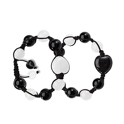Yin Yang Hearts Energy Love Couples or Best Friends Magic Powers Black Agate White Quartz Gems Bracelets