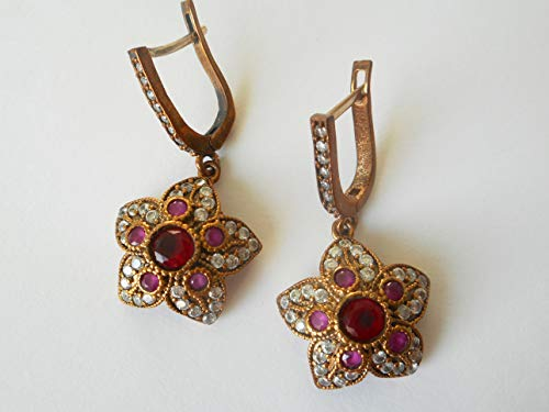 Vintage Ottoman 925 silver ruby and diamond flower earrings