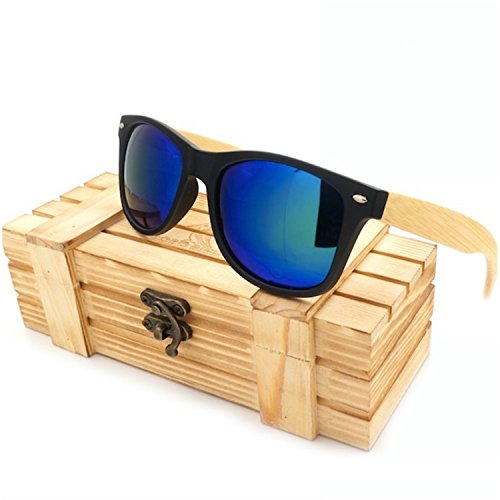 JapanX Bamboo Sunglasses & Wood Wooden Sunglasses for Men Women, Polarized Lenses Gift Box – Wooden Vintage Wayfarer Sunglasses - Bamboo Wood Wooden Frame – New Style Sunglasses (A2 - Ranch Bamboo Demolition Sunglasses