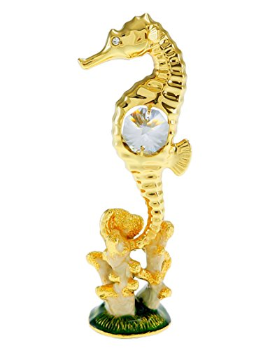 Seahorse with Enameled Base 24k Gold Swarovski Crystal Ornament Figure