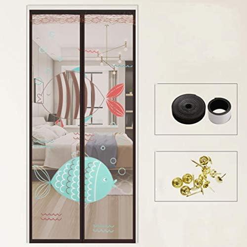 パンチのない昆虫や蚊の侵入を防ぐことができます蚊プルーフカーテン、磁気ハイグレードのスクリーンドア、キッチン、家庭抗飛ぶハエフリーマジックテープカーテン、 (Color : Brown 1, Size : 100*200cm)
