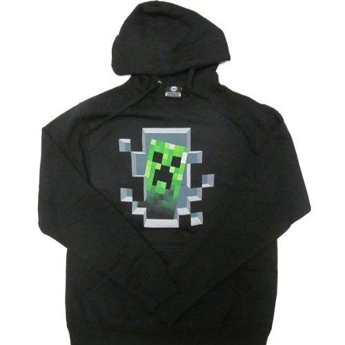 Minecraft Men's Creeper Inside Pullover Hoodie Black XS (Minecraft Kids Hoodie)