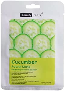 3 Pack) BEAUTY TREATS Facial Mask Refreshing Vitamin C Solution - Cucumber: Amazon.es: Belleza