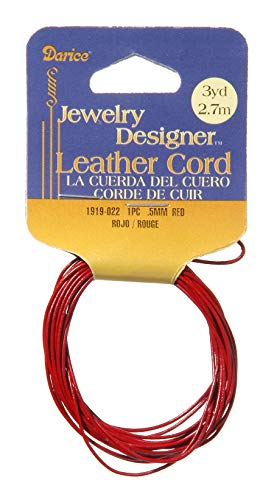 - Darice 1919-022 0.5 mm Leather Cord, Red, 3 yd.