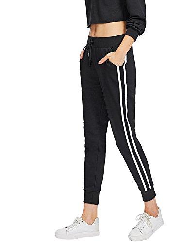 SweatyRocks Women's Drawstring Waist Striped Side Jogger Sweatpants with Pockets (Small, Black#10) (Workout Pant Striped)