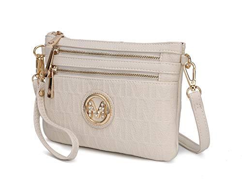 MKF Crossbody Bags for Women - Removable Adjustable Strap Handbag Wristlet - Small Vegan Leather Messenger Purse Beige