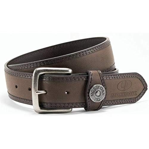 Mossy Oak PU Leather Padded Belt Color Brown with Shotgun Shell and Dbl Edge Stitch and Feather Edge and Buckle Color Brown BE01914AQ (42) ()