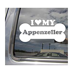 I Heart Love My Appenzeller - Dog Bone Sennenhund Cattle Mountain Purebred Breed Cars Trucks Moped Helmet Hard Hat Surfboard Auto Automotive Craft Laptop Vinyl Decal Store Window Wall Sticker 13069 5