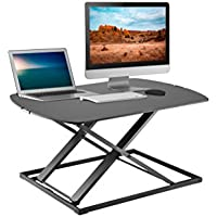 TechOrbits Height Adjustable Single Level Standing Desk - 31 Wide Sit to Stand Desk Converter Fully Assembled Standing Workstation Riser Black