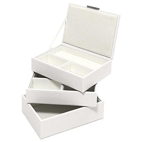 Swing Design 3 Piece Nova Stacking Jewelry Box, Small, White Mist