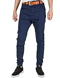 ITALY MORN Men's Flat Front Joggers Casual Chino Pants Slim Elastic Cuff