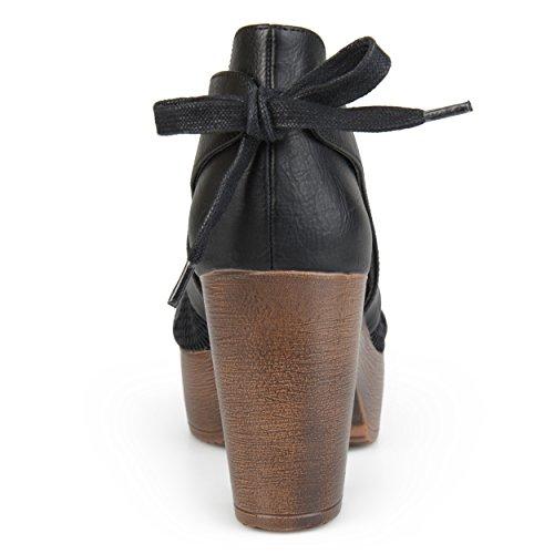 Journee Collection Womens Open Toe Tie Back Platform Clogs Black cchGHVfpnU