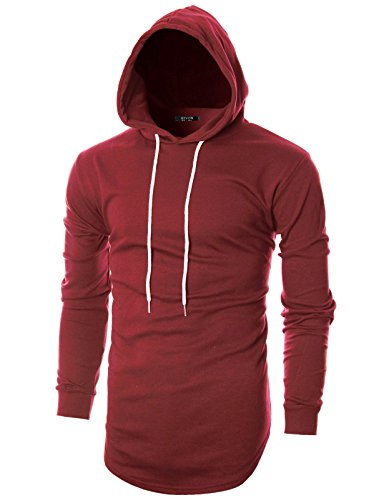 GIVON Mens Hipster Simple Longline Lightweight Pullover Long Sleeve Hooded - Sleeve Pullover Long Mens
