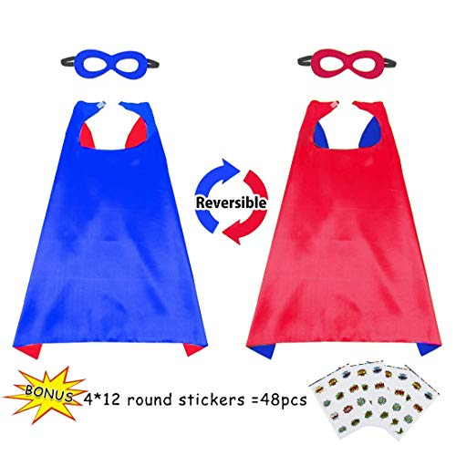Boys&Girls Superhero Cape+Mask Set and Stickers - Kids Super Hero Party Pretend Play Costume (Blue-red) -