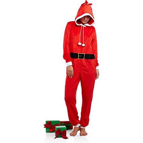 Juniors Body Candy Ugly Sweater Hoodie Fleece Christmas Santa Claus Union Suit Onsie Pajamas (Medium -