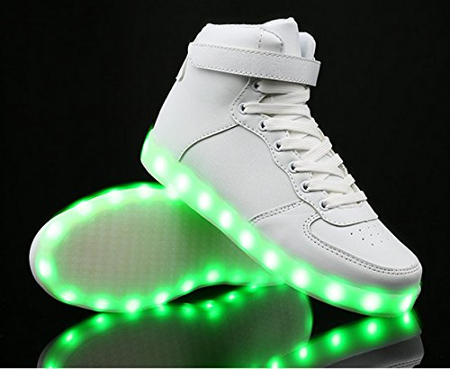 Unisex High Top USB Charging 7 Colors LED Shoes Flashing Sneakers