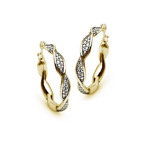 Yellow Gold Twist Earrings (Yellow Gold Flashed Sterling Silver Round Twist Diamond Accent 25mm Hoop Earrings, IJ-I3)