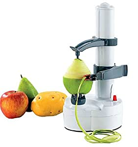 Automatic Electric Fruit Apple Pear Potato Peeler Portable Kitchen Utensil (White)