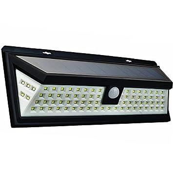 Luz solar exterior con 80 LED, Jiguoor para jardín, con sensor de movimiento ,