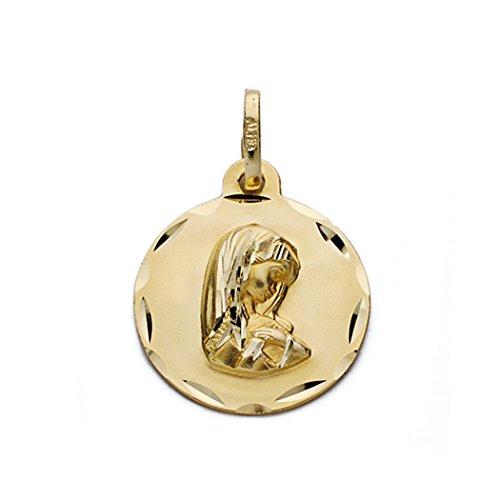 Médaille pendentif Nina Vierge de l'or 19mm 18k. [AA0574GR] - personnalisable - ENREGISTREMENT inclus dans le prix
