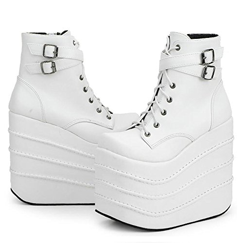 Stomp Platform Womens (PP FASHION Women's High Platform Lace up Stomp Sneaker Fashion Cosplay Queen Boots White US11/EU42)