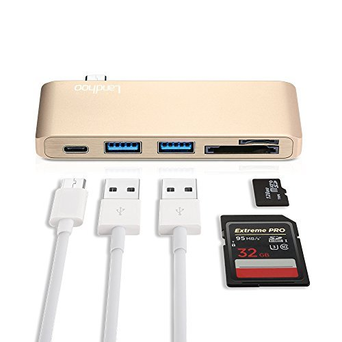 Type-C USB 3.0 5 in 1 Combo Hub for MacBook, Aluminum Multi-Port Adapter with USB-C Charging Port, Type-C Pass Through, 2 USB 3.0 Ports, SD/Micro Card Reader (Gold)