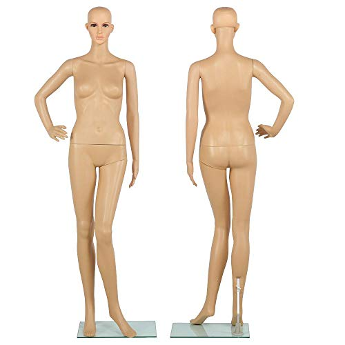 """(Yaheetech 68.9""""Full Body Female Mannequin Adjustable Realistic Mannequin Display 360 Degree Swivel Head W/Glass Base)"""
