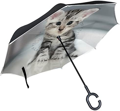 Double Layer Inverted Inverted Umbrella Is Light And Sturdy Pattern White Rabbit On Yellow Reverse Umbrella And Windproof Umbrella Edge Night Reflect