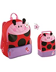 Stephen Joseph Girls Sidekick Ladybug Backpack and Lunch Pal with Zipper Pull