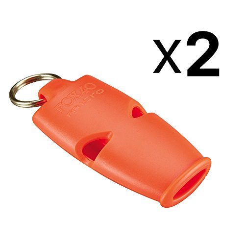 Fox 40 Micro Whistle Lanyard Referee Safety Rescue Dog Outdoor Orange (2-Pack) ()