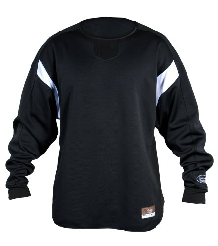 Louisville Slugger Adult Slugger Dug-Out Cold Weather Thermal-Tech Pull-Over, Black, - Crewneck Fleece Sweatshirt Styled