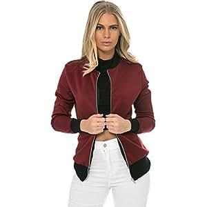 JIEPING Women Jacket Zipper Closure is Contracted Cool Bomber Jacket Outwear Streetwear Motorcycle L-Red Wine