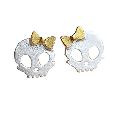 (INME S925 Sterling Silver Plated Vintage Golden Bowknot Skull Womens CC Studs Earrings,)