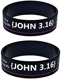 CF Silicone Bible Verse bRACELET Holy Prayer Scripture John 3 16 Bible Quote Wide Cuff RISTBAND for Boyfriend Husband Son Dad for Baptism Engagement Gift,Black
