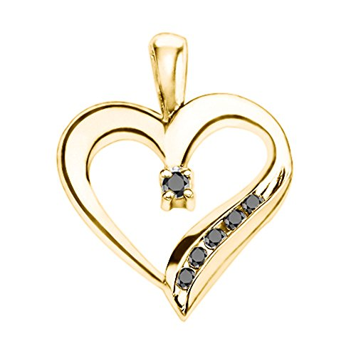 TwoBirch 14k Yellow Gold 14k Yellow Gold Adorned Heart Shaped Pendant with Chain Charm set with Black Diamonds (0.25 ct. twt.) with Black Diamonds (0.25 ct. twt.)