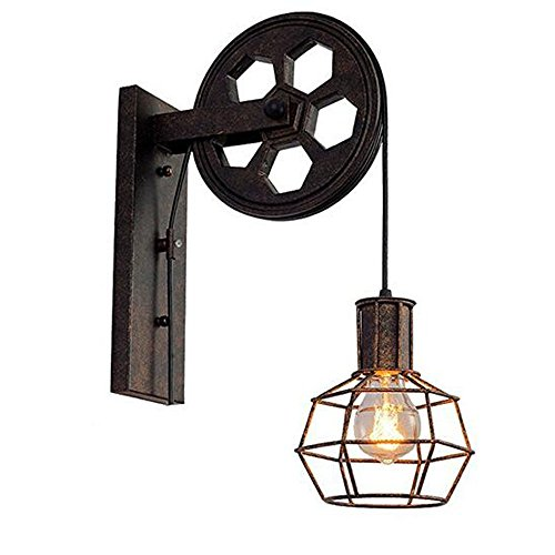 Kiven Loft Industrial Wall Light Vintage-Style 1-Light Iron Wall Sconce Lifting Pulley Wall Lamp Edison vanity Light Fixture - Hubbardton Bathroom Sconce