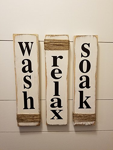 Rustic Bathroom Signs - Wash, Relax, Soak - White - Farmhouse Wooden Signs for Bathroom Decor. Primitive Wood Signs. Set of Three. (Wooden Primitive Sign)