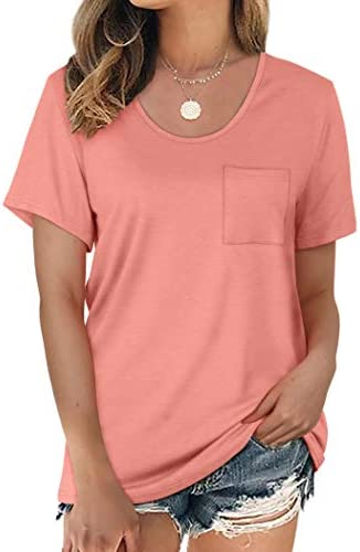 NSQTBA Womens Tshirts Short Sleeve Loose Fit U Neck T Shirts with Pocket