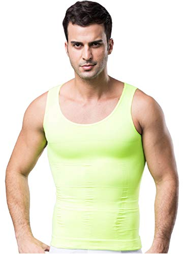 Mens Muscle Compression Tank Top, Green Compression Shirt, XX-Large -